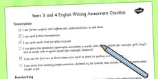 2014 Curriculum LKS2 Years 3 and 4 Writing Assessment Individual Checklist