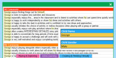 EYFS Report Writing Bank of Differentiated Statements - Characteristics of Effective Learning