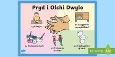 * NEW * Poster Pryd i Olchi Eich Dwylo
