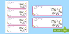 Unicorn Themed Editable Drawer-Peg-Name Labels (Blank)