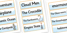 Word Cards to Support Teaching on James and the Giant Peach