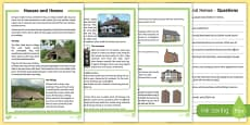 Houses and Homes Differentiated Reading Comprehension Activity
