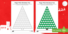 EYFS Finger Print Christmas Tree Activity