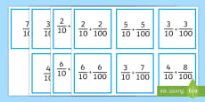 * NEW * Adding Tenths and Hundredths Matching Game