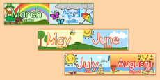 Months of the Year Display Borders Romanian Translation