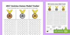 Invictus Games Medals Count and Add Activity Sheet