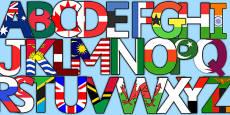 World Flag Display Lettering
