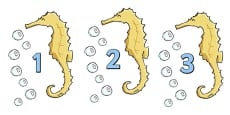 Numbers 0-20 on Seahorses