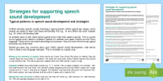 Strategies For Supporting Speech Sound Development