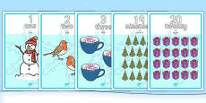 Winter Themed Number Posters 1-20 Words and Numbers Arabic Translation