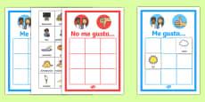 All About Me 'I like' and 'I don't like' Sorting Activity Spanish