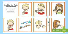Brushing Your Teeth Sequencing Cards English/Polish