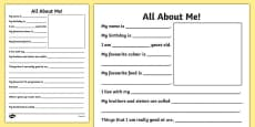 New Teacher All About Me Writing Frame