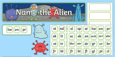 Phase 4 Phonics Name the Alien Display Pack