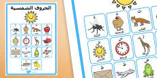 The Solar Letters with Examples Display Poster Arabic