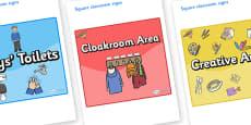 Lark Themed Editable Square Classroom Area Signs (Colourful)