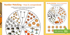Number Matching Pegs Autumn Themed English/Romanian