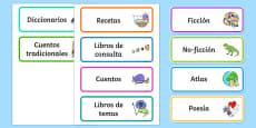 Book Corner Library Labels Spanish / Español