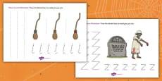 Halloween Pencil Control Activity Sheet