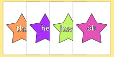 Coloured Phase 2 to 5 Tricky Words on Stars Pack