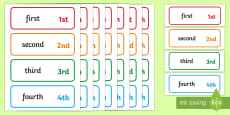 Ordinal Numbers Word and Number Cards 1-31