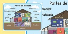 Parts of a House Word Mat Spanish