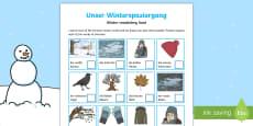 Winter German Vocabulary Hunt Activity Sheet