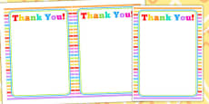 Rainbow Themed Birthday Party Thank You Cards