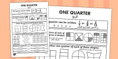 Fractions Quarter Activity Sheet Arabic Translation