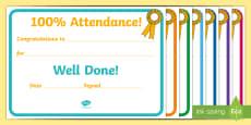 *NEW* Full Attendance Award Certificate