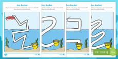 Sea Bucket Pencil Control Path Activity Sheets