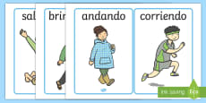PE Physical Action Word and Picture Display Posters - Spanish