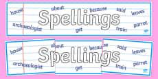 Spellings Display Banner