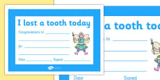 I Lost a Tooth Certificate