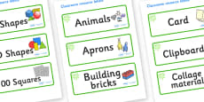 Green Themed Editable Classroom Resource Labels