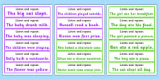 Listen and Repeat 4-5 Word Length Sentence Cards