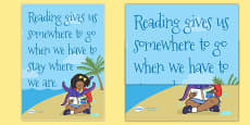 Reading Gives Us Somewhere To Go Reading Quote Poster (Large)