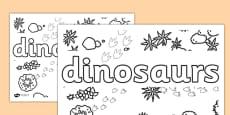 Dinosaurs Word Colouring Tracing Sheet