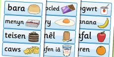 Food Word Cards Welsh