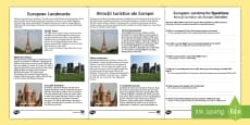 Europe Landmarks Reading Comprehension Activity English/Romanian