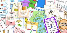 KS1 Maths Measurement and Geometry - Properties of Shape Display Pack Year 1