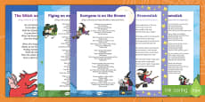 Songs and Rhymes Resource Pack to Support Teaching on Room on the Broom