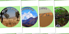 Animal Habitats Display Photo Cutouts
