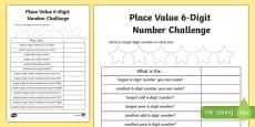 Place Value 6-Digit Number Challenge Activity Sheet