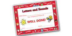 Letters and Sounds Award Certificates Phase 6