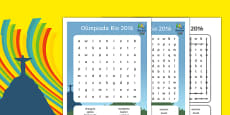Rio Olympics 2016 Word Search Polish