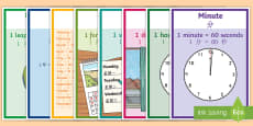 Units of Time Display Posters English/Mandarin Chinese