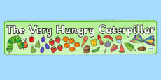 Display Banners Simple to Support Teaching on The Very Hungry Caterpillar