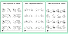 Spring Number Comparison Activity Sheet Spanish