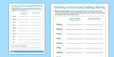 Adding ing and ed Spelling Correction Activity